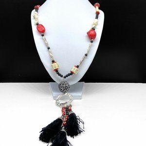 Chico's Beaded Long Tassel Pendant Necklace